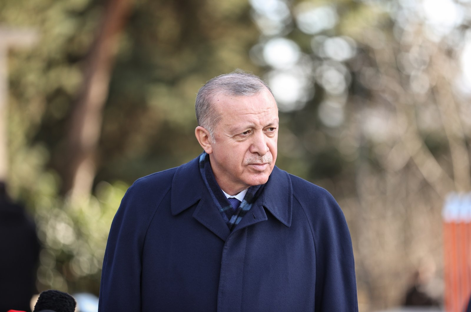 President Recep Tayyip Erdoğan leaves a mosque in Istanbul's Üsküdar district after Friday prayers, Jan. 22, 2021. (AA Photo)