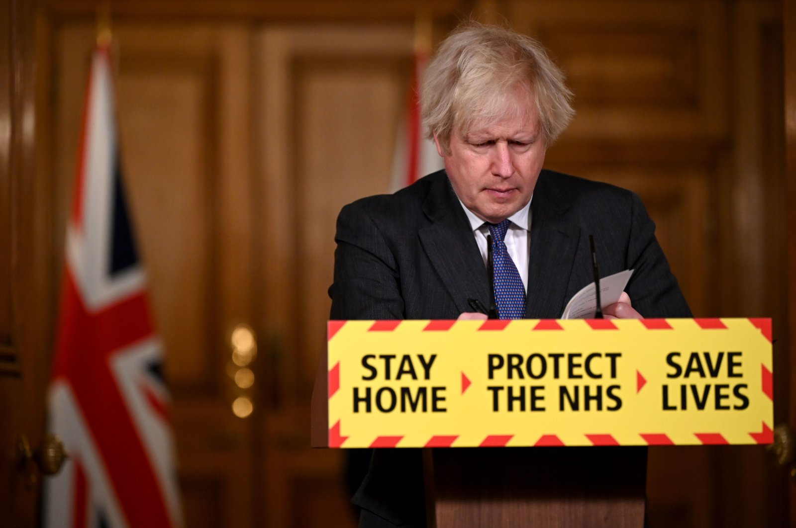 Britain's Prime Minister Boris Johnson speaks during a virtual press conference on the COVID-19 pandemic, at 10 Downing Street in central London on Jan. 22, 2021. (AFP Photo)