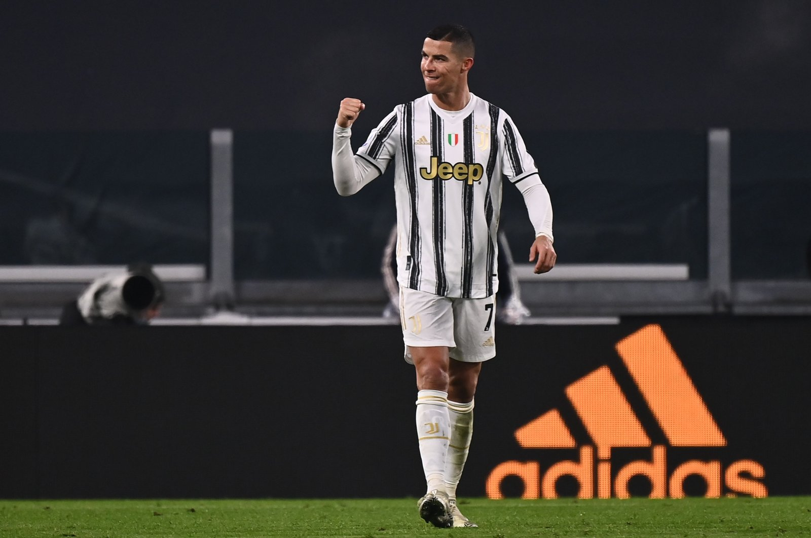 Juventus striker Cristiano Ronaldo celebrates after scoring a goal during the Italian Serie A football match between Juventus and Udinese at the Allianz Stadium in Turin, Italy, Jan. 3, 2021. (AFP Photo)