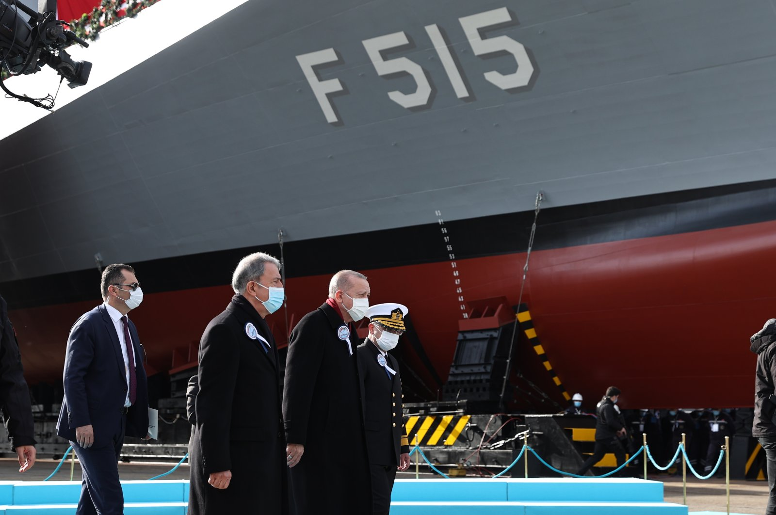 President Recep Tayyip Erdoğan (C) attends the launch ceremony of the Istanbul frigate with Defense Minster Hulusi Akar (L), Istanbul, Jan. 23, 2021. (AA Photo)