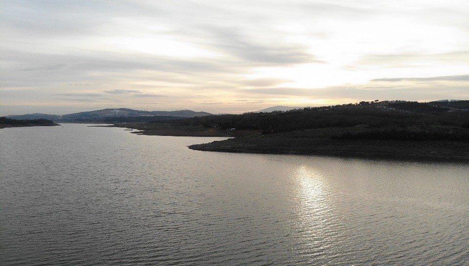 Istanbul's Ömerli Dam is seen in this aerial photo taken on Jan. 22, 2021. (IHA Photo)