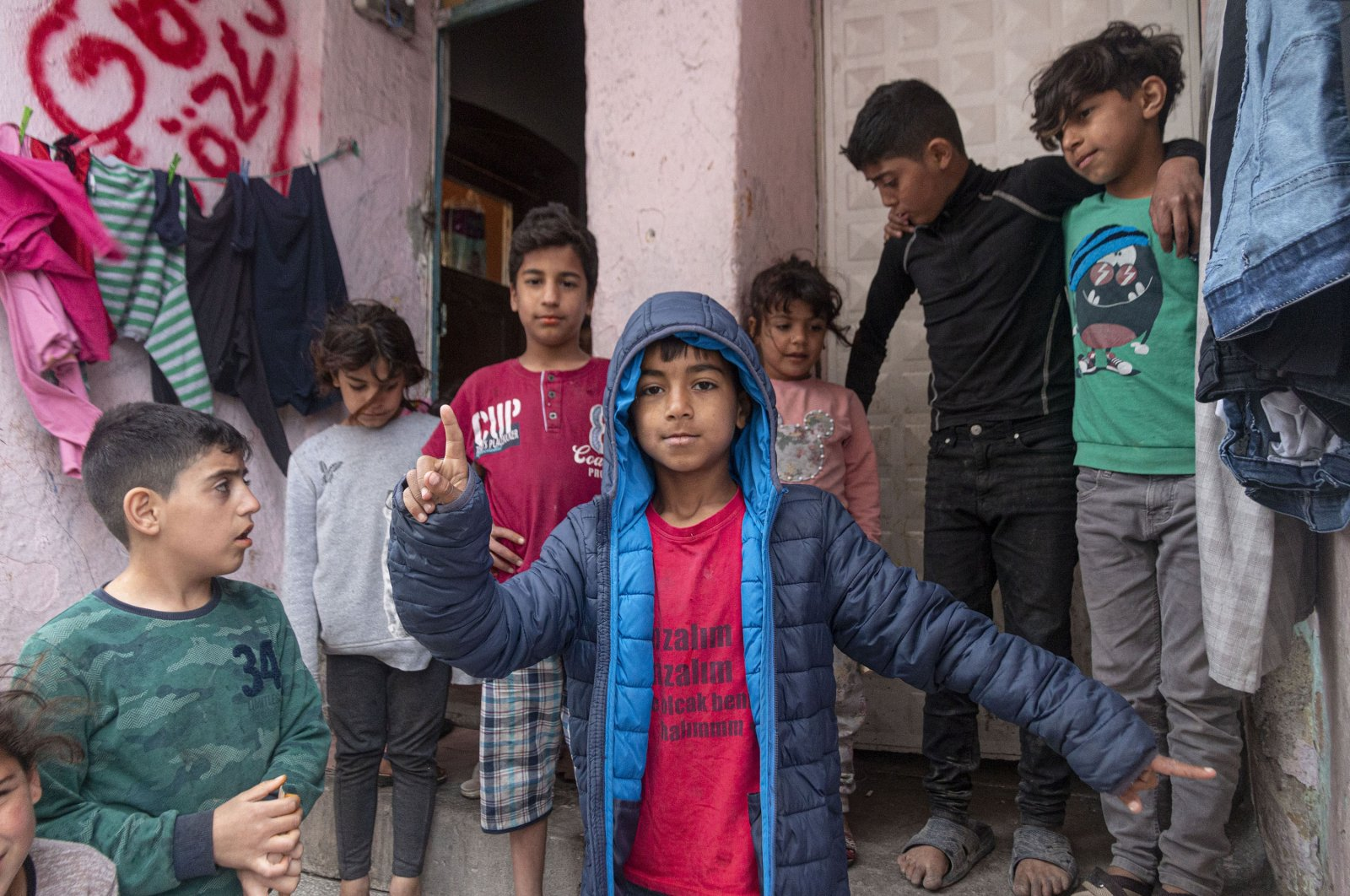 Syrian children pose for a photo at a migrant camp in the capital Ankara, Turkey, Apr. 30, 2020. (Getty Images)