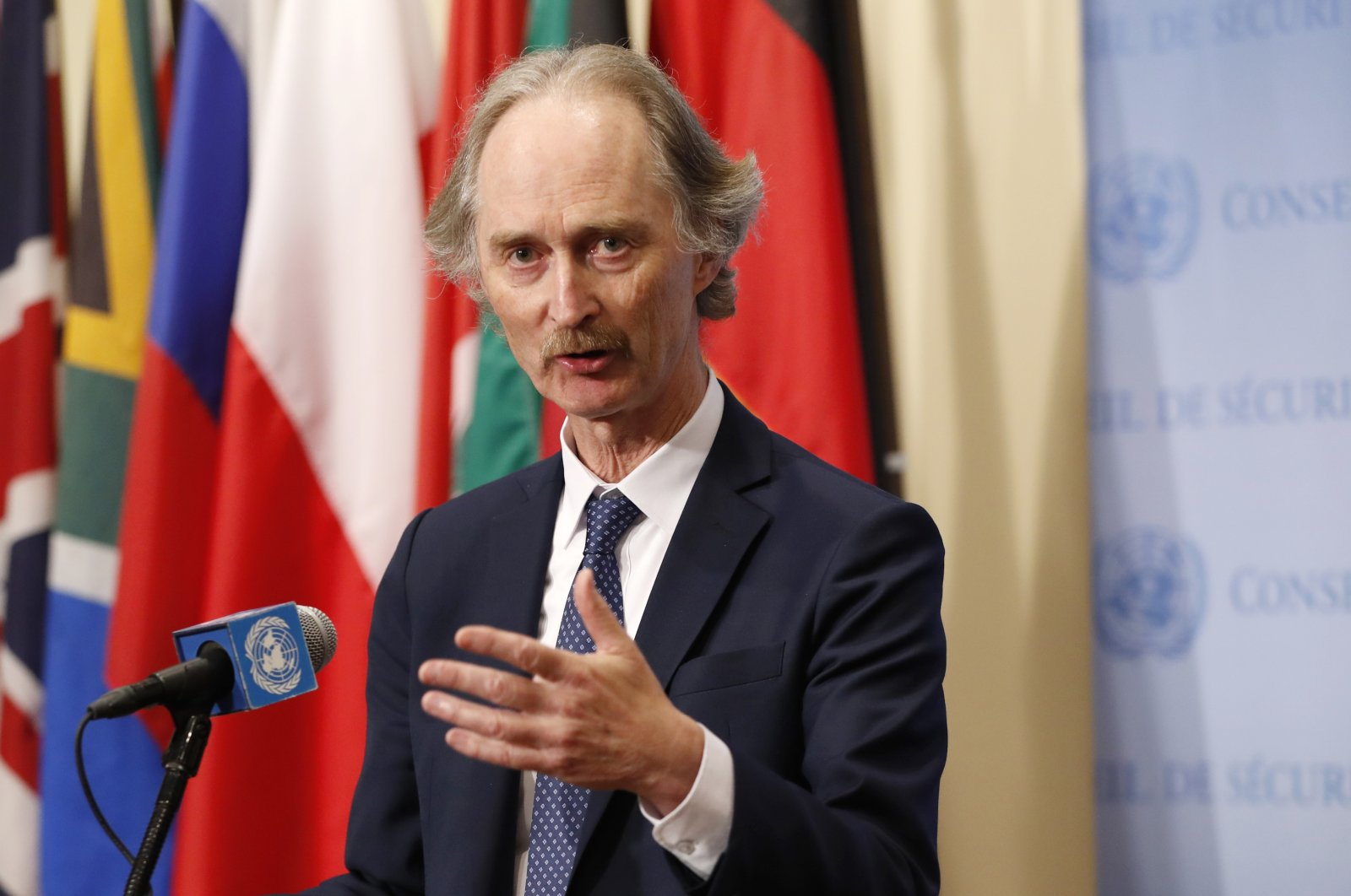 U.N. Special Envoy for Syria Geir Pedersen speaks to journalists following a U.N. Security Council (UNSC) meeting on Syria at U.N. headquarters, April 30, 2019. (AP Photo)