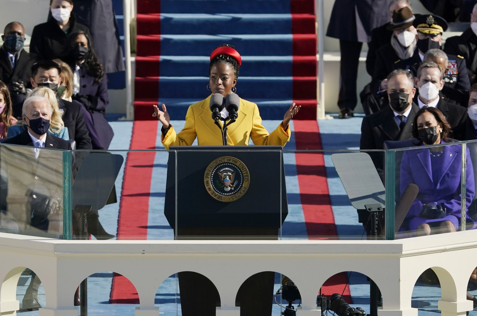 National youth poet laureate Amanda Gorman recites her inaugural poem during Joe Biden's presidential inauguration at the U.S. Capitol, Washington, D.C., the U.S., Jan. 20, 2021. (AP Photo)