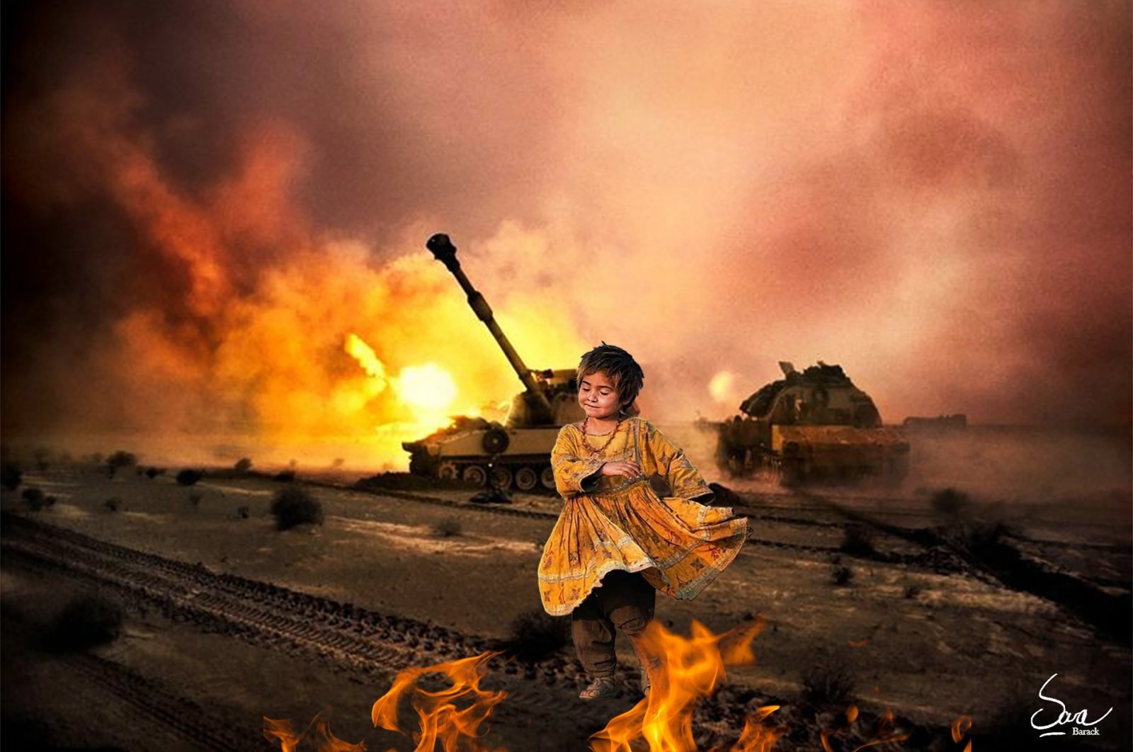An illustration by Sara Barackzay shows a little girl in a war scene. (AA PHOTO)