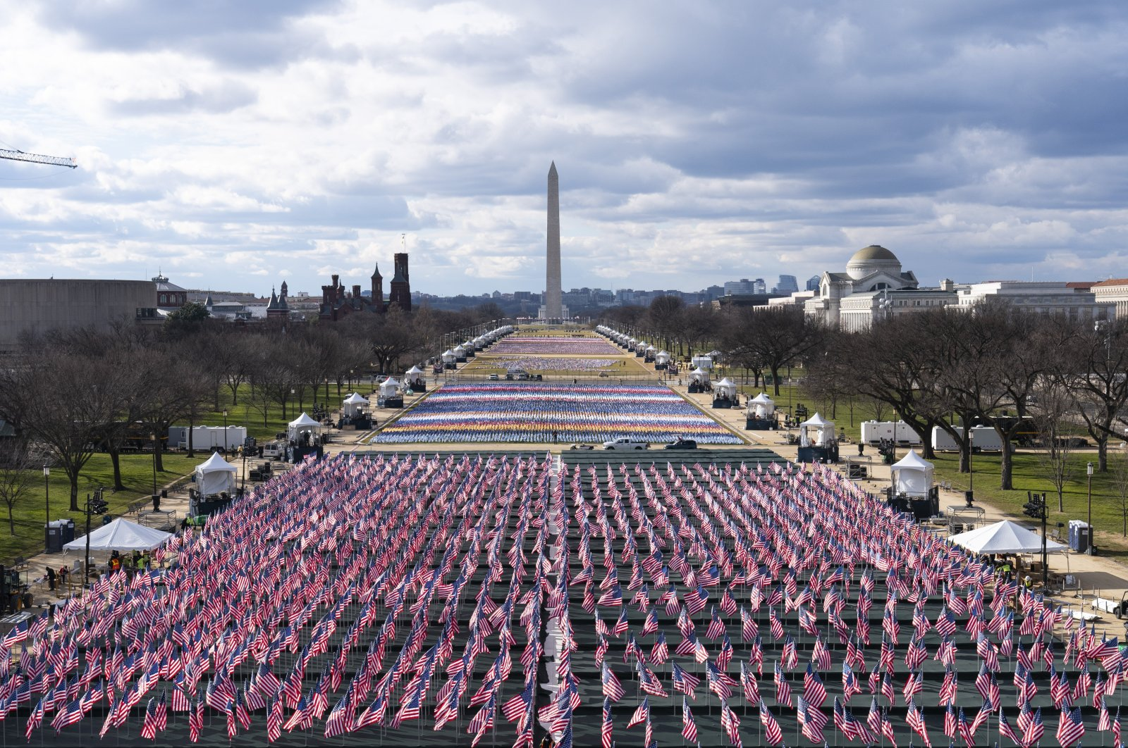 Flags are placed on the National Mall ahead of Joe Biden's inauguration ceremony, Washington, D.C., the U.S., Jan. 18, 2021. (AP Photo)
