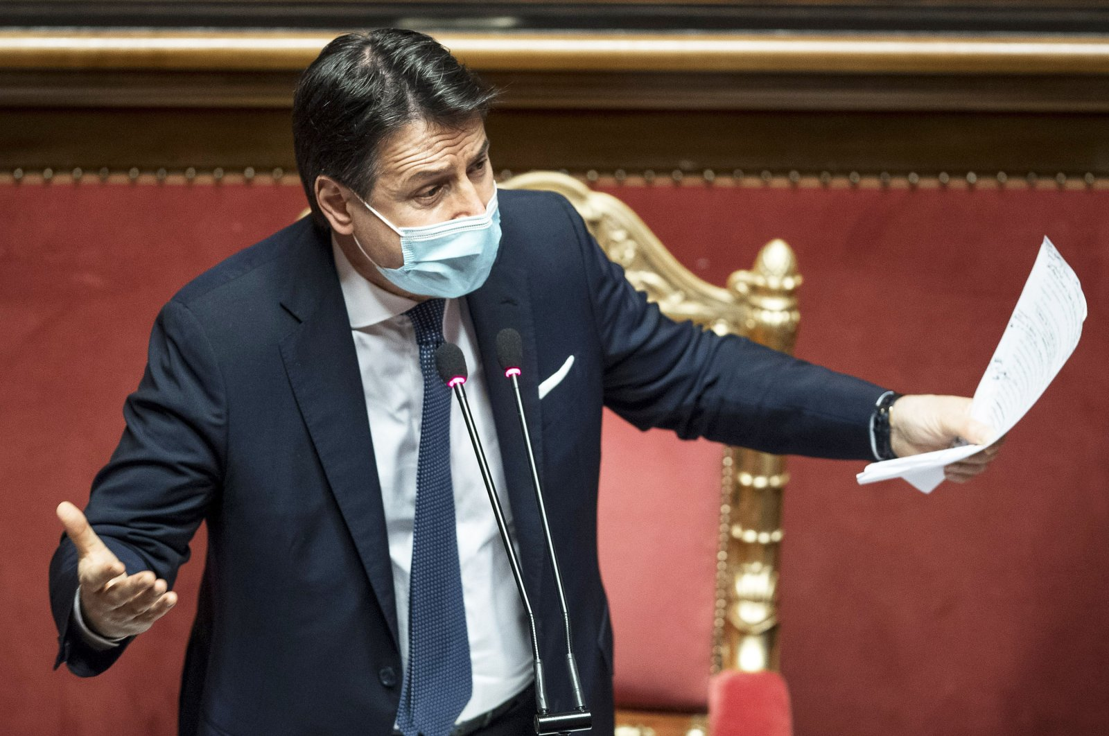 Italy's Prime Minister Giuseppe Conte speaks prior to a confidence vote at the Italian Senate, in Rome, Italy, on Jan. 19, 2021. (Getty Images)