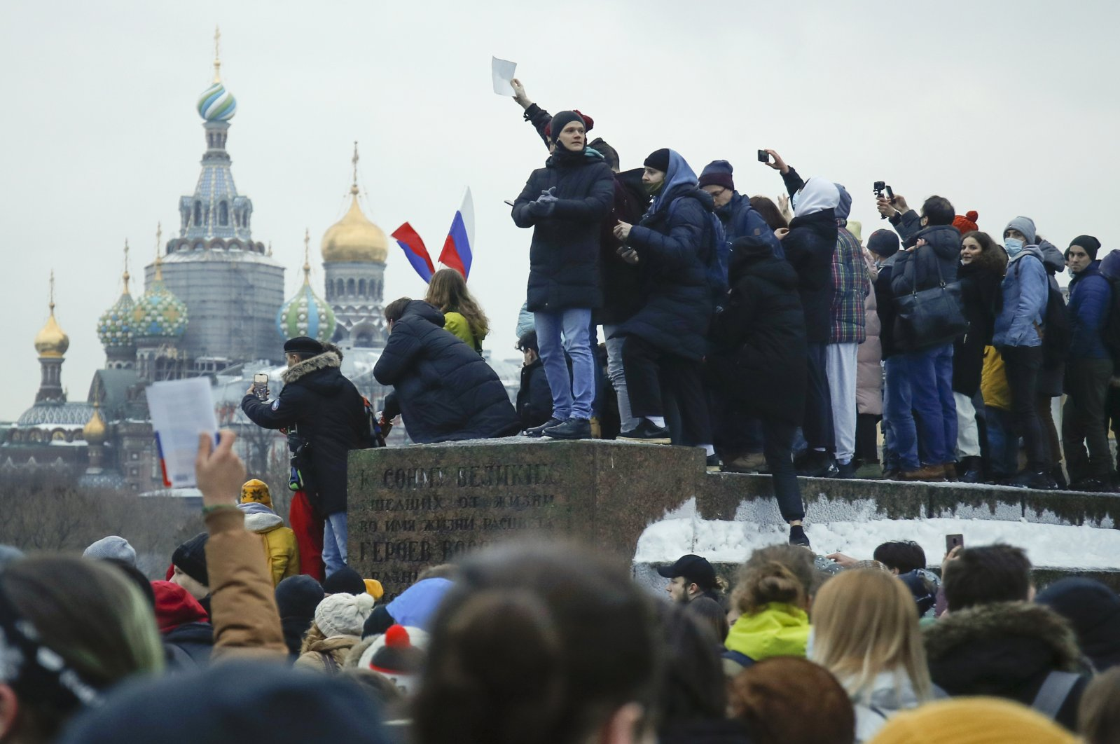 People gather to protest against the jailing of opposition leader Alexei Navalny in St.Petersburg, Russia, Saturday, Jan. 23, 2021. (AP Photo)