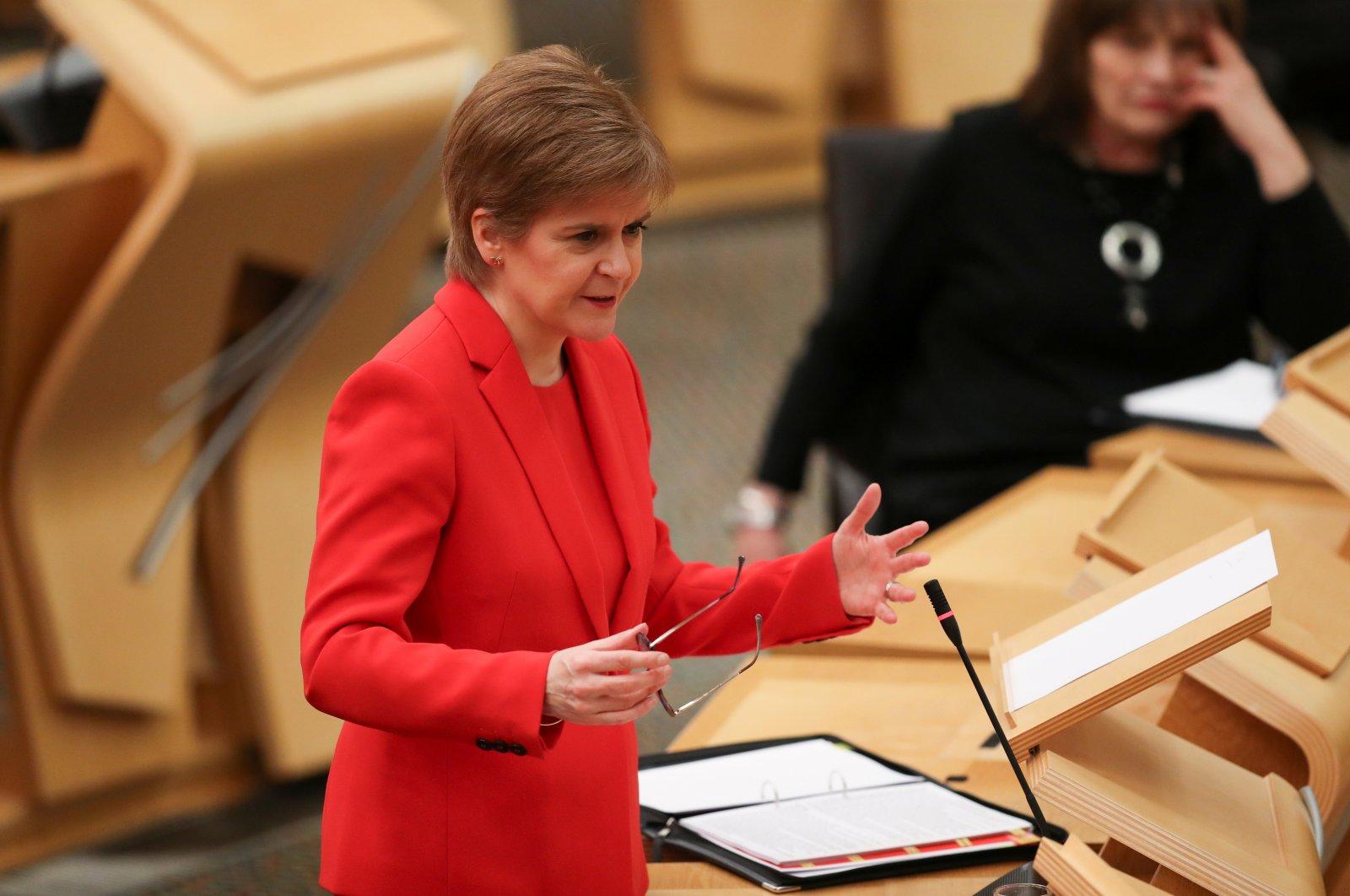First Minister Nicola Sturgeon speaking at the Scottish Parliament in Edinburgh, Scotland, Britain, Jan. 19, 2021. (Reuters Photo)