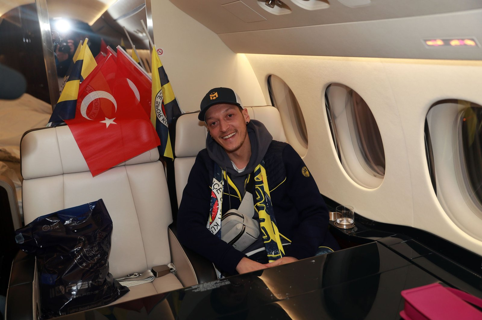 German midfielder Mesut Özil onboard a private jet on his way to join Turkish Süper Lig side Fenerhabçe, Atatürk International Airport, Istanbul, Turkey, Jan. 18, 2021. (AFP Photo)
