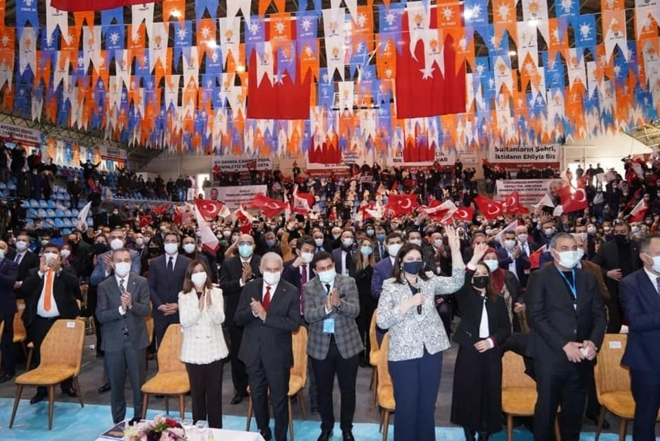 Ruling Justice and Development Party members attend the seventh Ordinary Convention in Edirne province on Jan. 20, 2021 (IHA Photo)