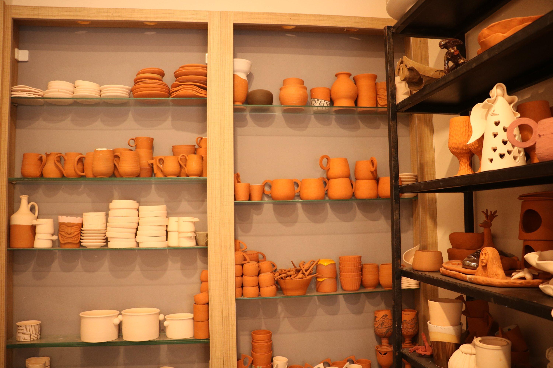 Rows of clay pottery objects on display, in Çanakkale, northwestern Turkey, Jan. 23, 2021. (AA Photo)