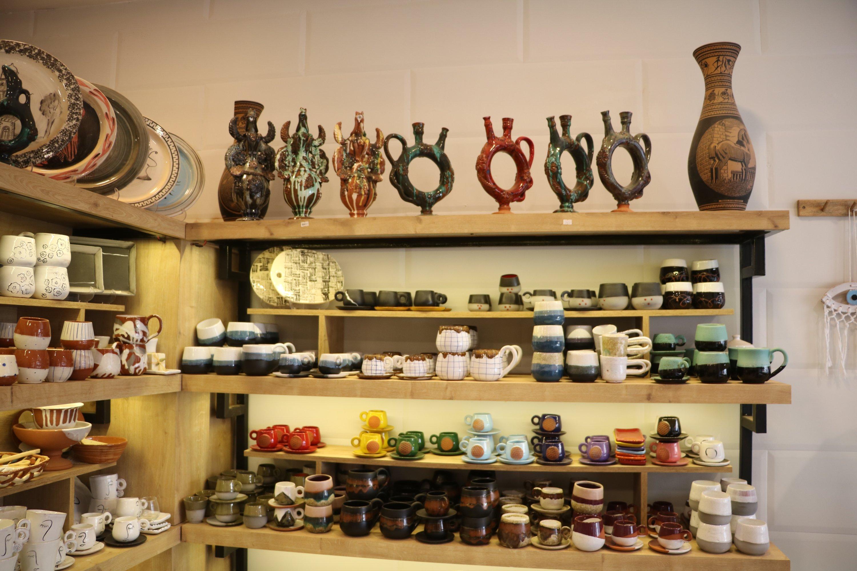 Several clay and ceramic pottery works on display, in Çanakkale, northwestern Turkey, Jan. 23, 2021. (AA Photo)