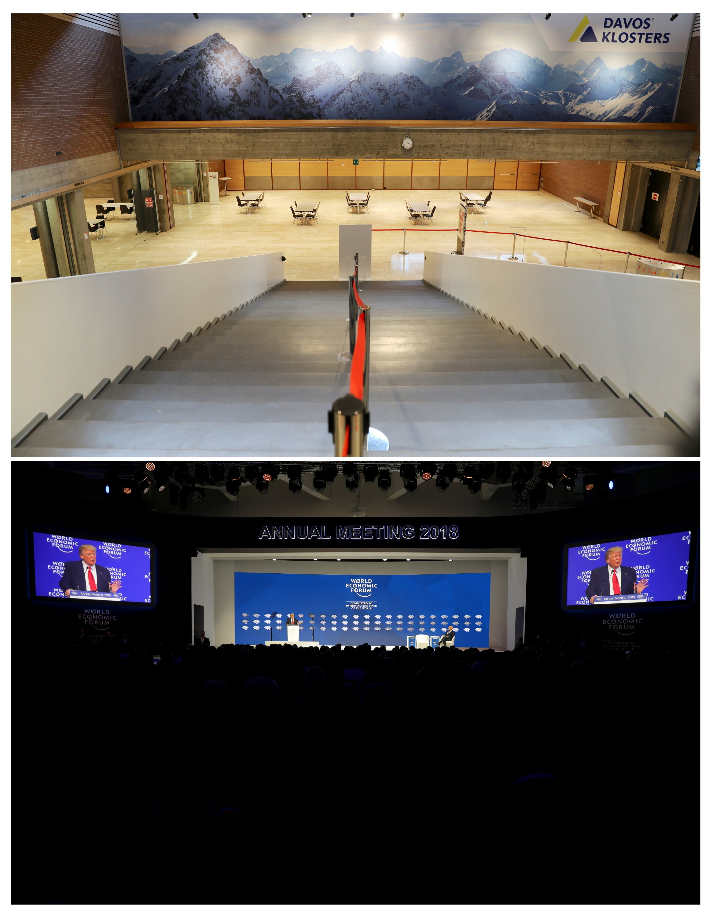 A combination photo shows a view of the foyer at the congress center amid the COVID-19 outbreak in Davos, Switzerland, Jan. 22, 2021 (top), and then-U.S. President Donald Trump speaking at the World Economic Forum (WEF) annual meeting in Davos, Switzerland, Jan. 26, 2018. (Reuters Photo)