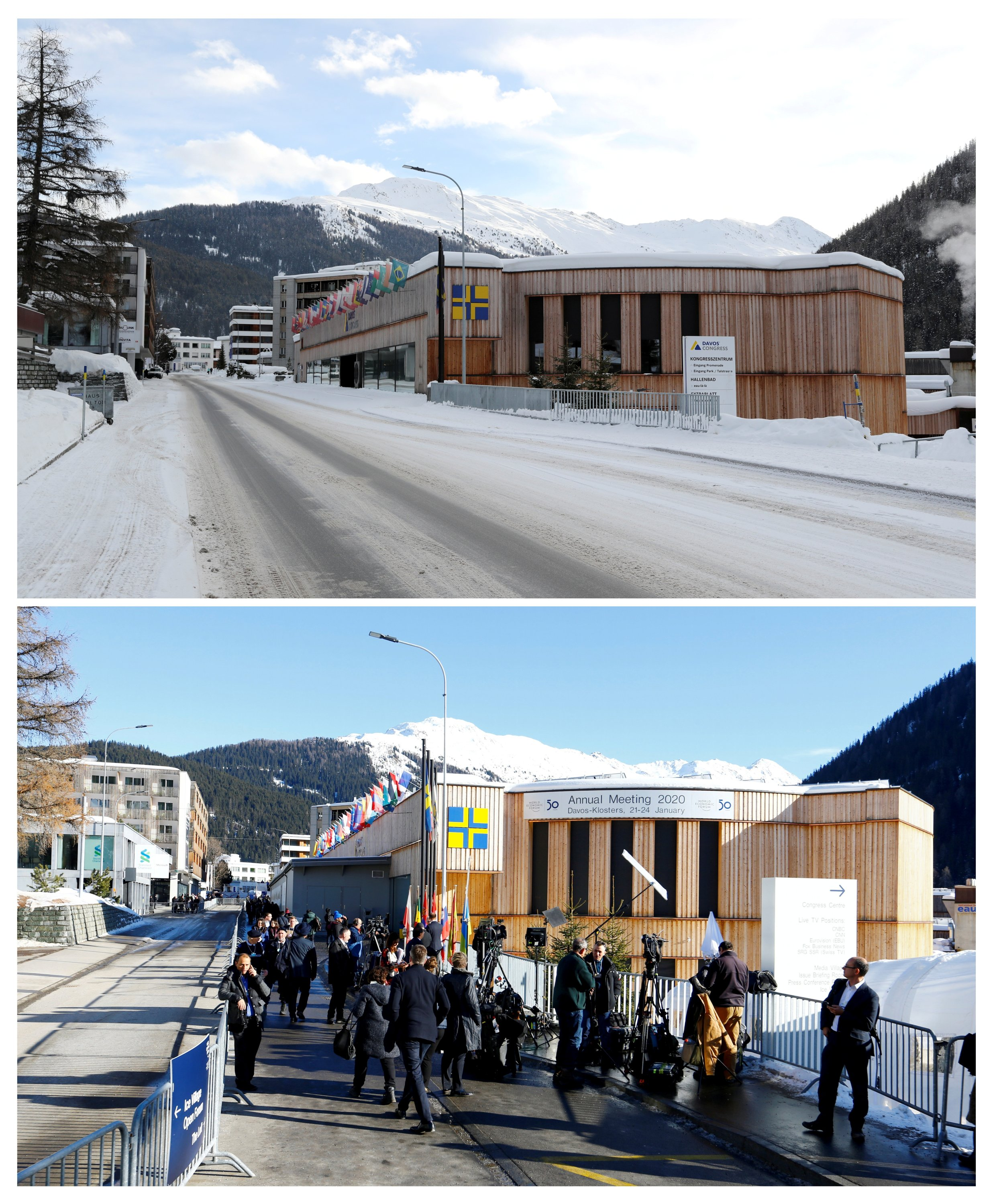 A combination picture shows a view of the congress center on Promenade street amid the COVID-19 outbreak in Davos, Switzerland, Jan. 22, 2021 (top), and people walking in front of the congress center, the venue of the World Economic Forum (WEF), in the Alpine resort of Davos, Switzerland, Jan. 22, 2020. (Reuters Photo)