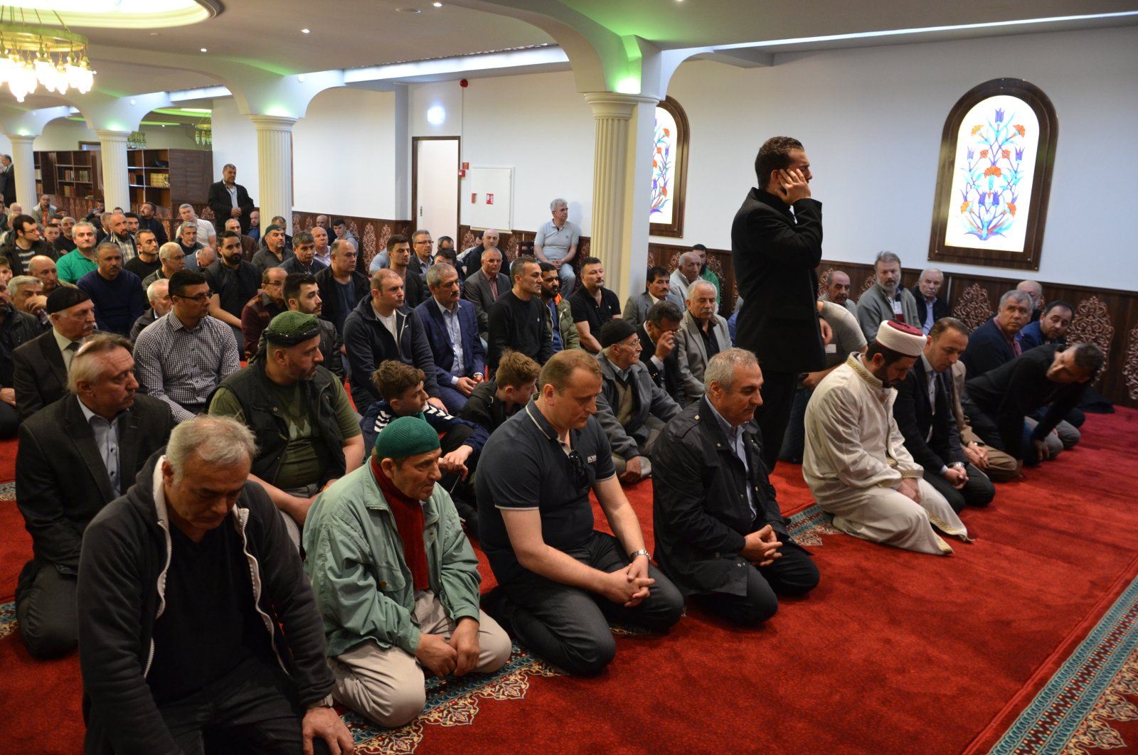 Believers wait for prayer at a mosque in Slagelse, 100 kilometers (62 miles) south of the capital Copenhagen, Denmark, May 9, 2017. (AA Photo)