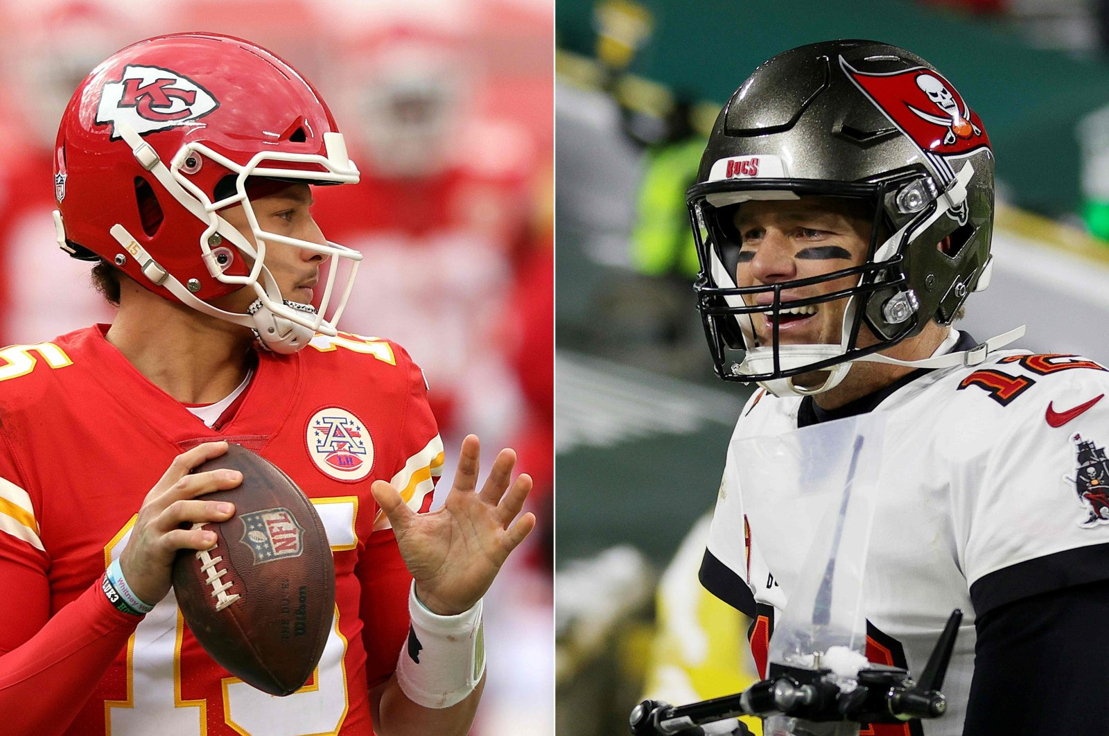 Photo combination of Kansas City Chiefs' quarterback Patrick Mahomes (L) and Tampa Bay Buccaneers' quarterback Tom Brady. (AFP Photo)  The duo guided their respective teams to the Super Bowl 55 scheduled for Feb. 8, 2021.