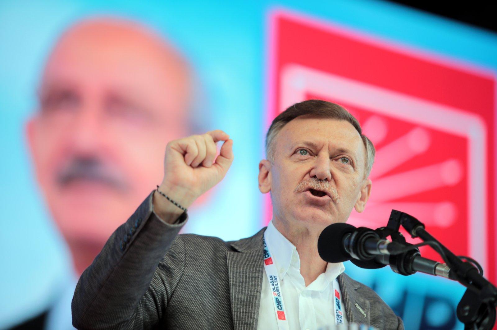 Former CHP deputy Aytuğ Atıcı speaks at the CHP congress, Ankara, Turkey, July 25, 2020. (Photo by Ali Ekeyılmaz)