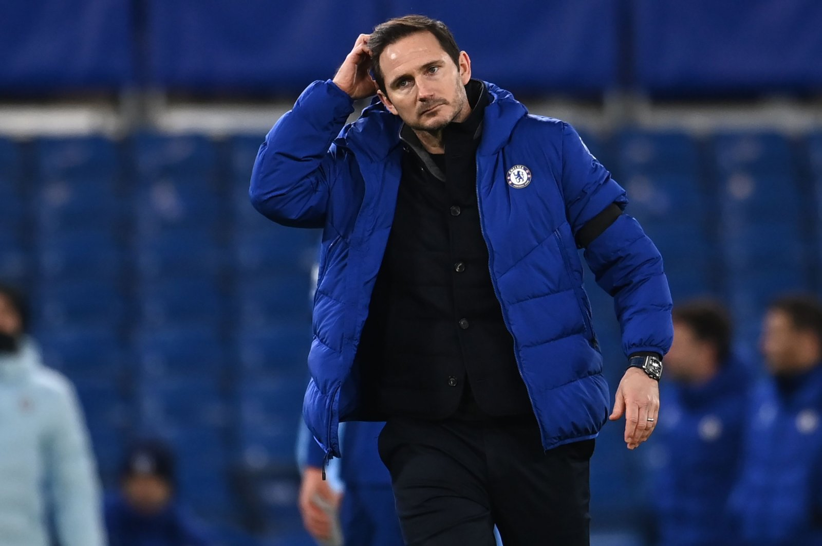 Chelsea manager Frank Lampard after a defeat against Manchester City, at the Stamford Bridge, London, England, Jan. 25, 2021. (AFP Photo)