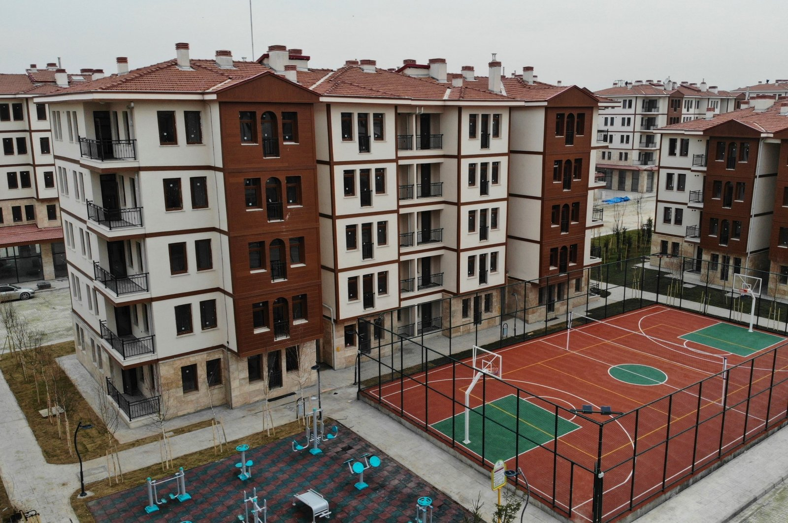 A view of the residential buildings built for earthquake survivors in Elazığ, eastern Turkey, Jan. 23, 2021. (IHA Photo)