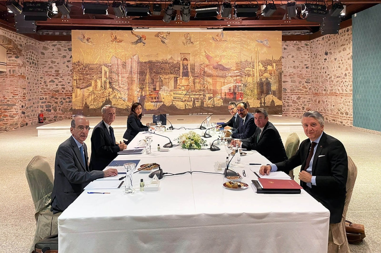 Turkish and Greek delegations meet for the exploratory talks at the Dolmabahçe Presidential Working Office in Istanbul, Turkey, Jan. 25, 2021.