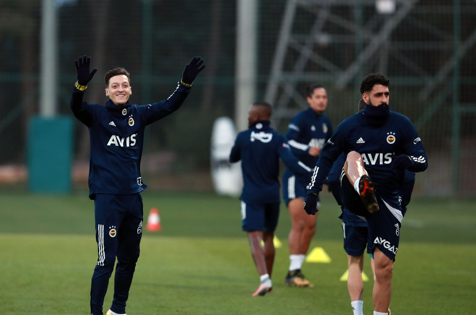 Fenerbahçe's new transfer, German midfielder Mesut Özil, takes part in his first training session with the team in Istanbul, on Jan. 24, 2021. (DHA Photo)