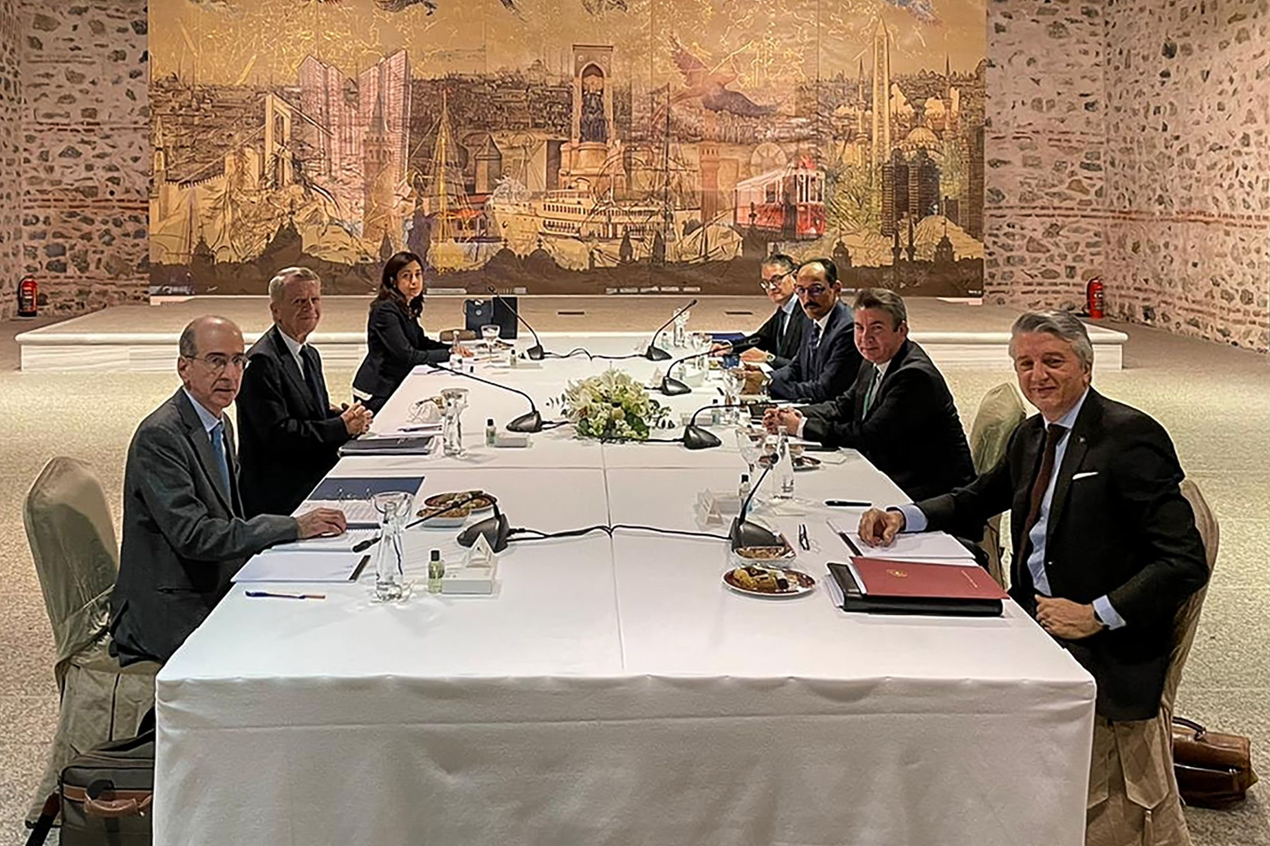 Turkish and Greek delegations during exploratory talks on the two nations' bilateral maritime conflicts, Istanbul, Turkey, Jan. 25, 2021. (AFP Photo)