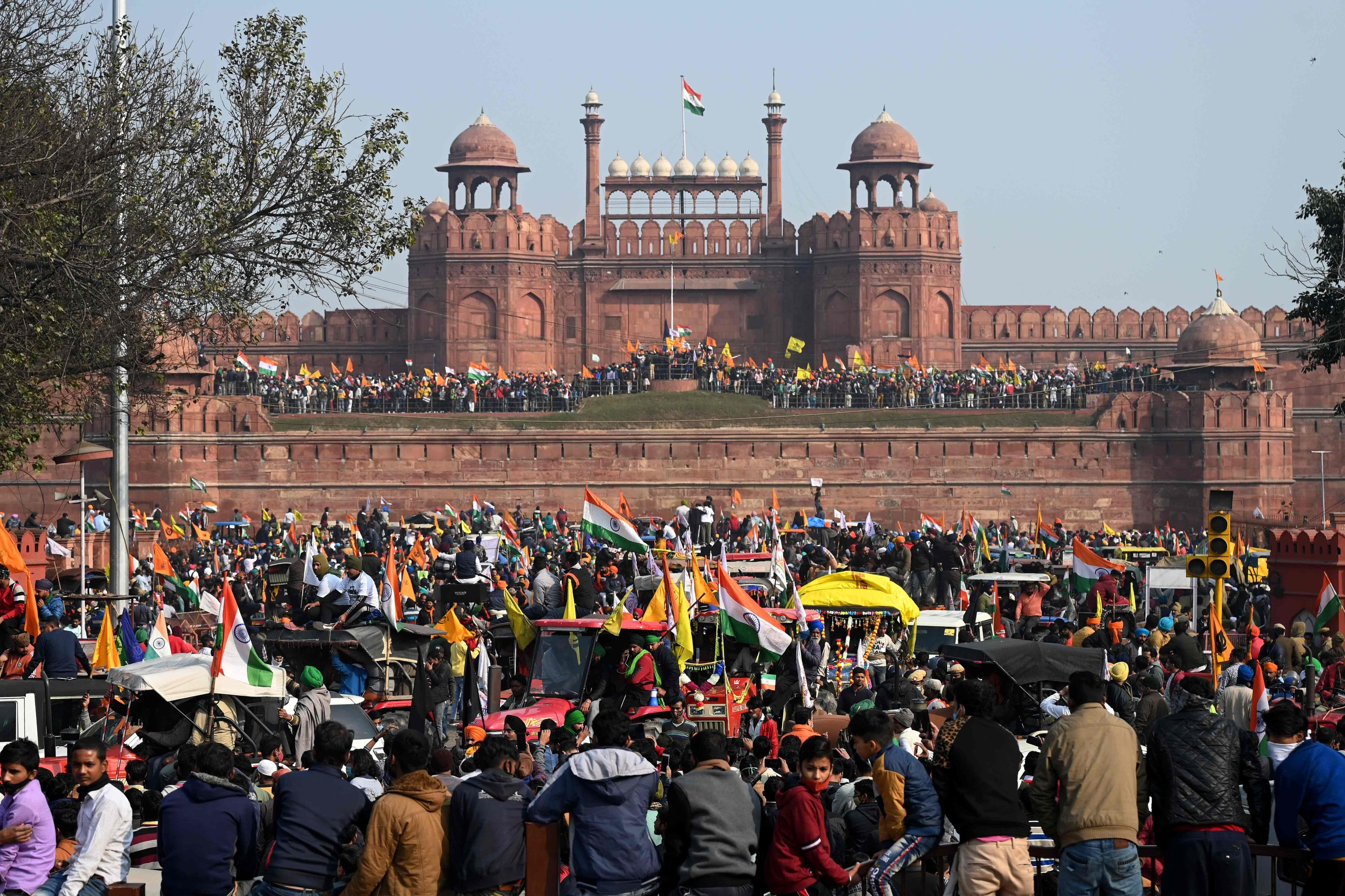 Farmers at the Red Fort as they continue to protest against the Indian government's recent agricultural reforms, New Delhi, India, Jan. 26, 2021. (AFP Photo)