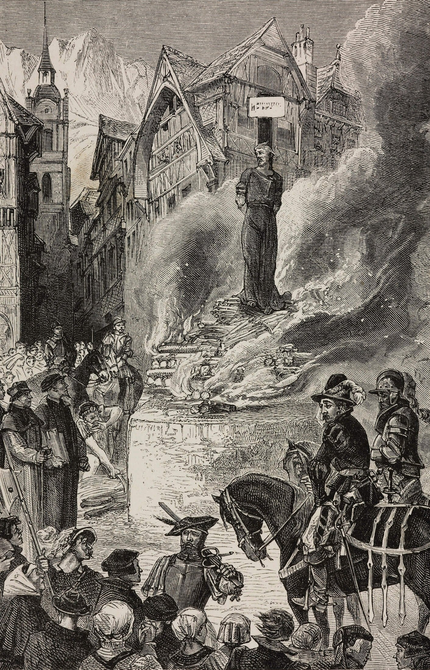 An illustration depicts Michael Servetus being burnt at the stake in Geneva in 1553. (Getty Images)