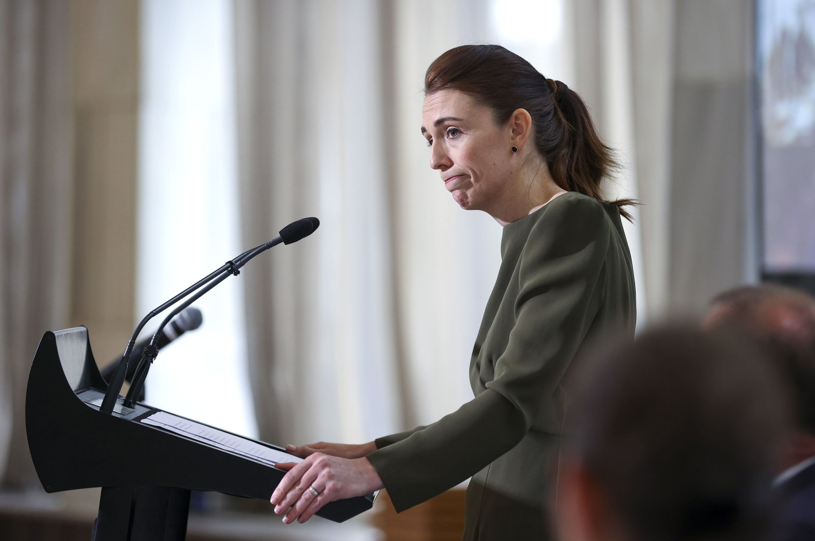 Prime Minister Jacinda Ardern looks on during a media lock-up in Wellington, New Zealand, on Dec. 8, 2020. (Getty Images)