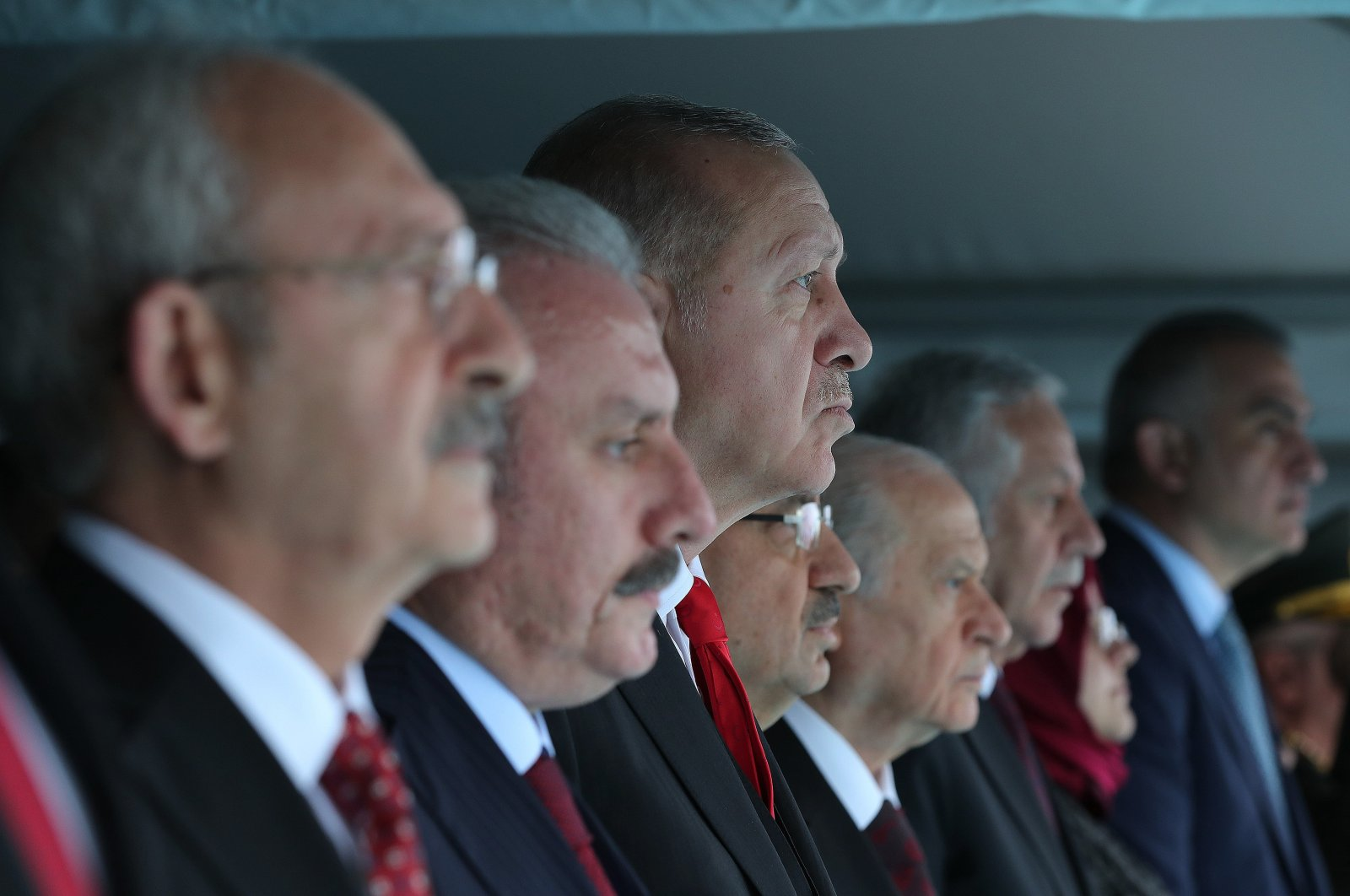 From left to right, CHP Chairperson Kemal Kılıçdaroğlu, Parliament Speaker Mustafa Şentop, President Recep Tayyip Erdoğan, Vice President Fuat Oktay and MHP Chairperson Devlet Bahçeli attend May 19 Youth and Sports Day celebrations in the northern province of Samsun, Turkey, May 19, 2019. (Sabah File Photo)
