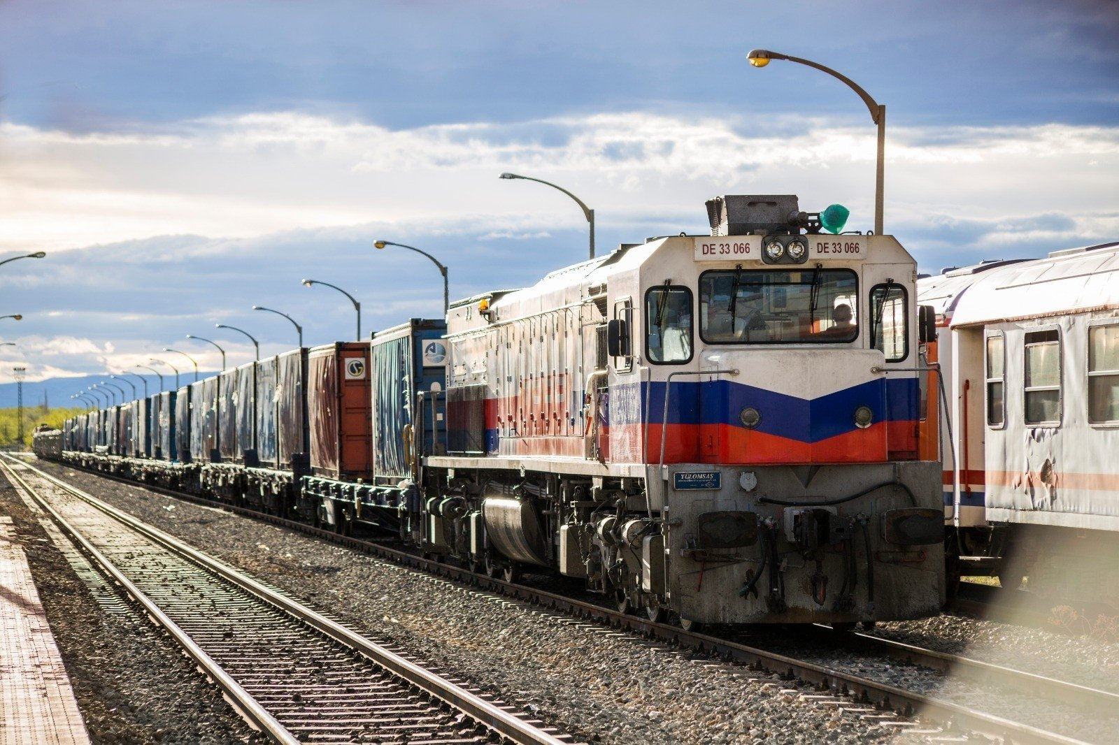 A freight train operating between Turkey and Iran stops at an undisclosed location, Jan. 26, 2021. (IHA Photo)