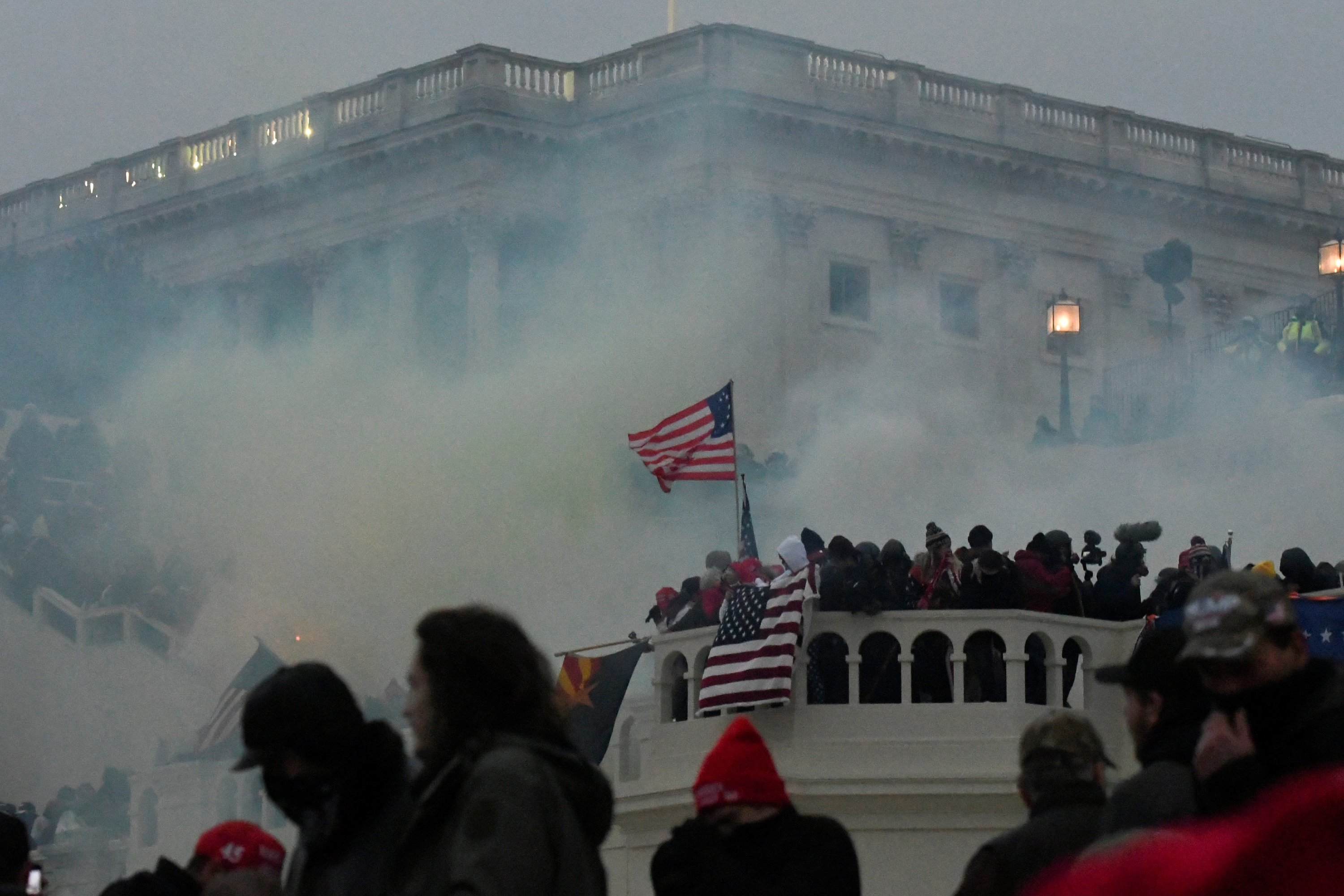 Police clear the U.S. Capitol Building with tear gas as pro-Donald Trump supporters gather outside, Washington, D.C., the U.S., Jan. 6, 2021. (Reuters Photo)