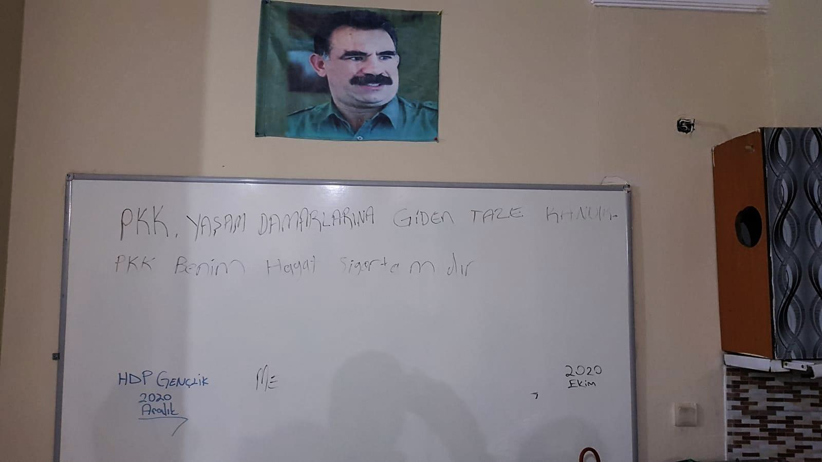 Security forces launched an operation after posters of the jailed PKK leader Abdullah Öcalan and terrorist propaganda material were found at the HDP's Esenyurt headquarters, Istanbul, Jan. 25, 2021. (AA Photo)