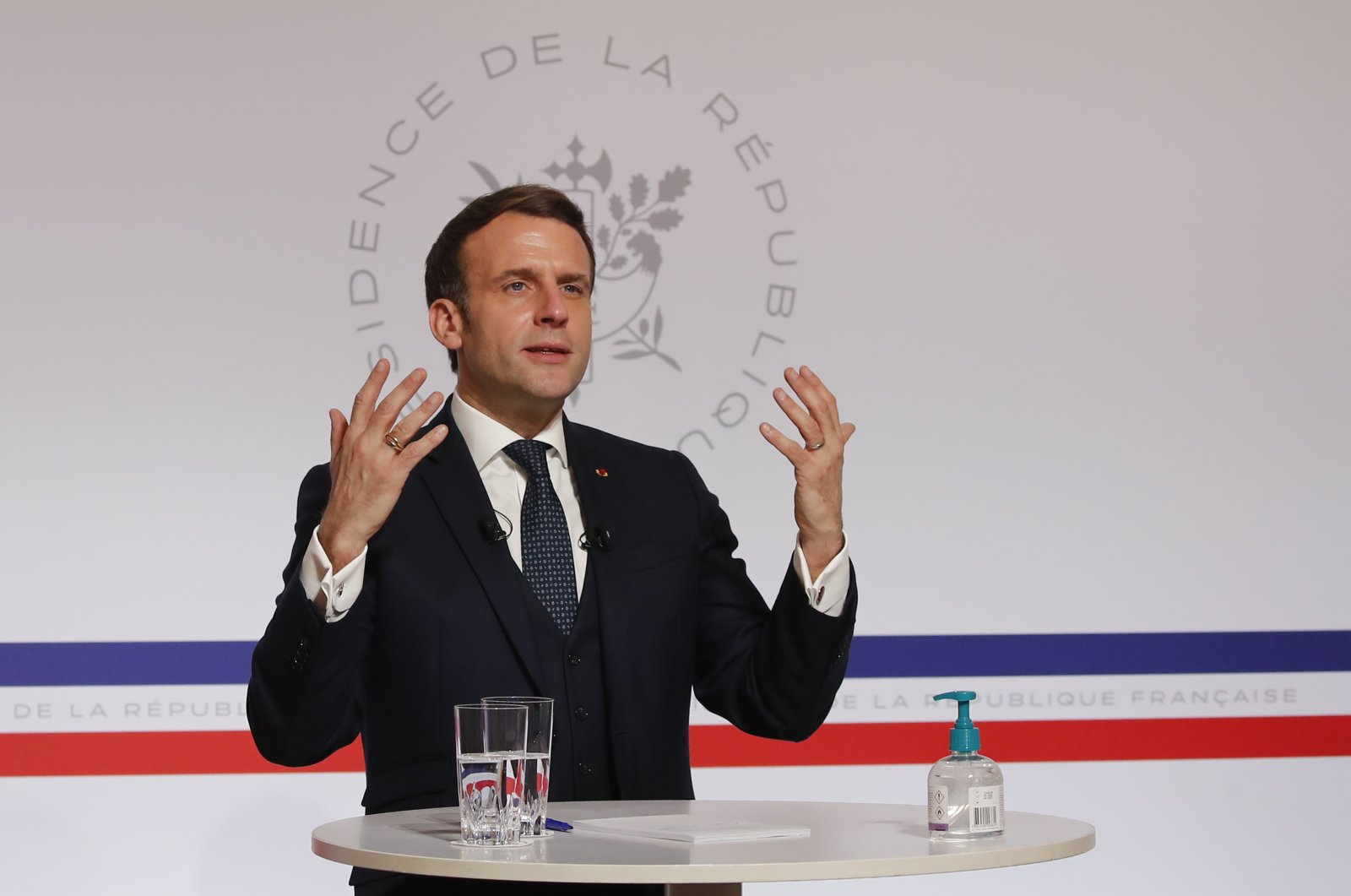 French President Emmanuel Macron attends a videoconference at the Elysee Palace in Paris, France, Jan. 26, 2021. (AP Photo)