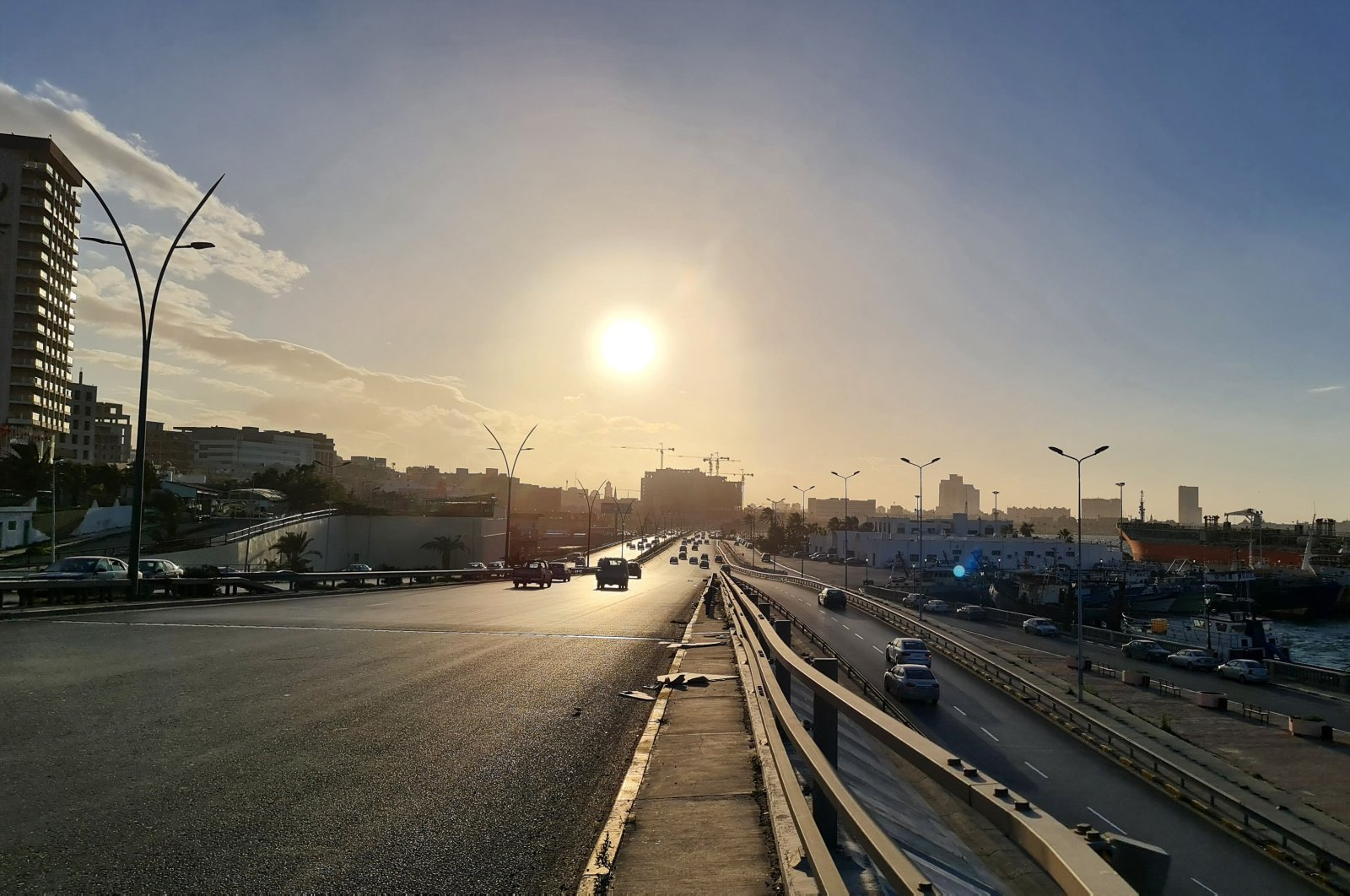 A picture shows a road along the port in the capital Tripoli, Libya, Jan. 26, 2021. (AFP Photo)