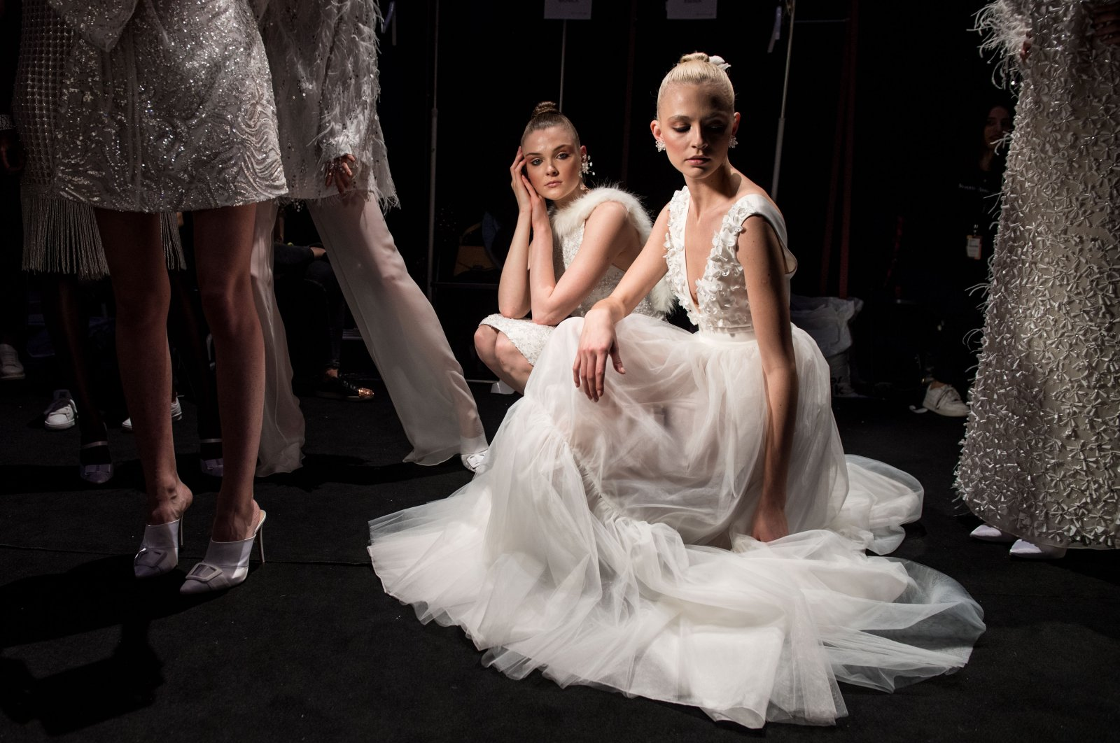 A model backstage ahead of the Nihan Peker show during Mercedes Benz Fashion Week Istanbul at Zorlu Performance Hall on March 30, 2018 in Istanbul, Turkey. (Getty Images for IMG)