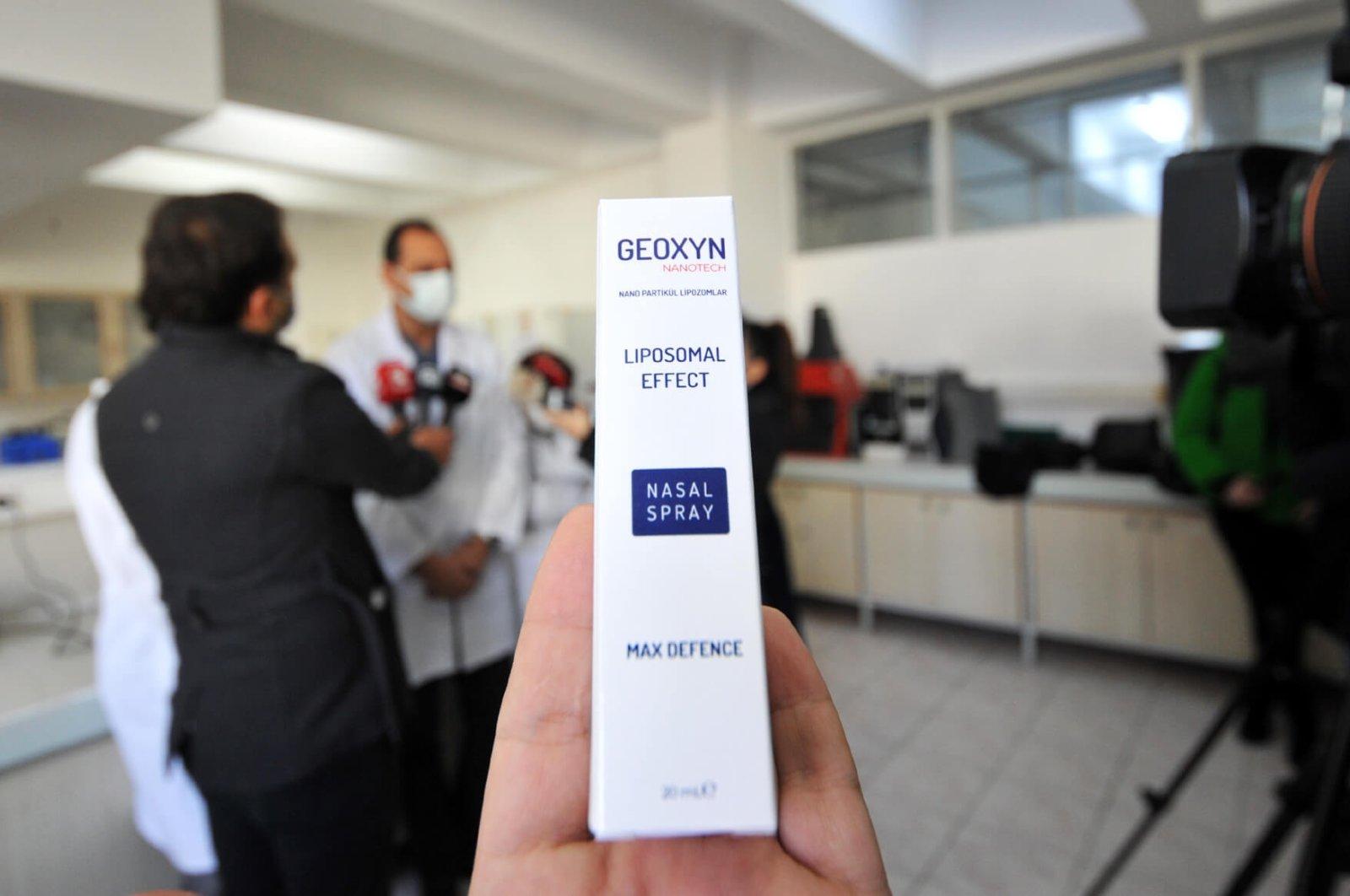 The nasal spray developed by Uludağ University is seen at a lab in Turkey's northwestern Bursa province, on Jan. 22, 2021. (AA Photo)