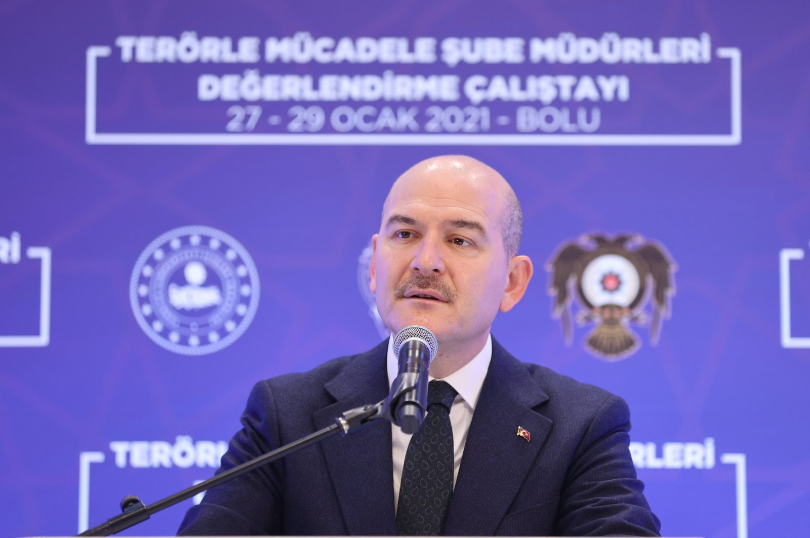 Interior Minister Süleyman Soylu speaks at a workshop on the fight against terrorism in Bolu province, northern Turkey, Jan. 27, 2021. (AA Photo)