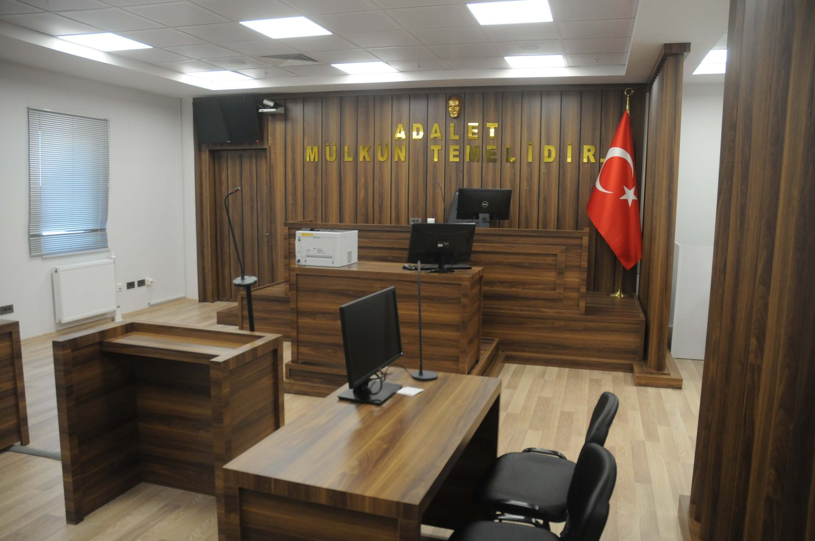 A view of the courtroom inside the airport, in Istanbul, Turkey, Jan. 25, 2021. (PHOTO BY CEVDET ÖZDEMİR)