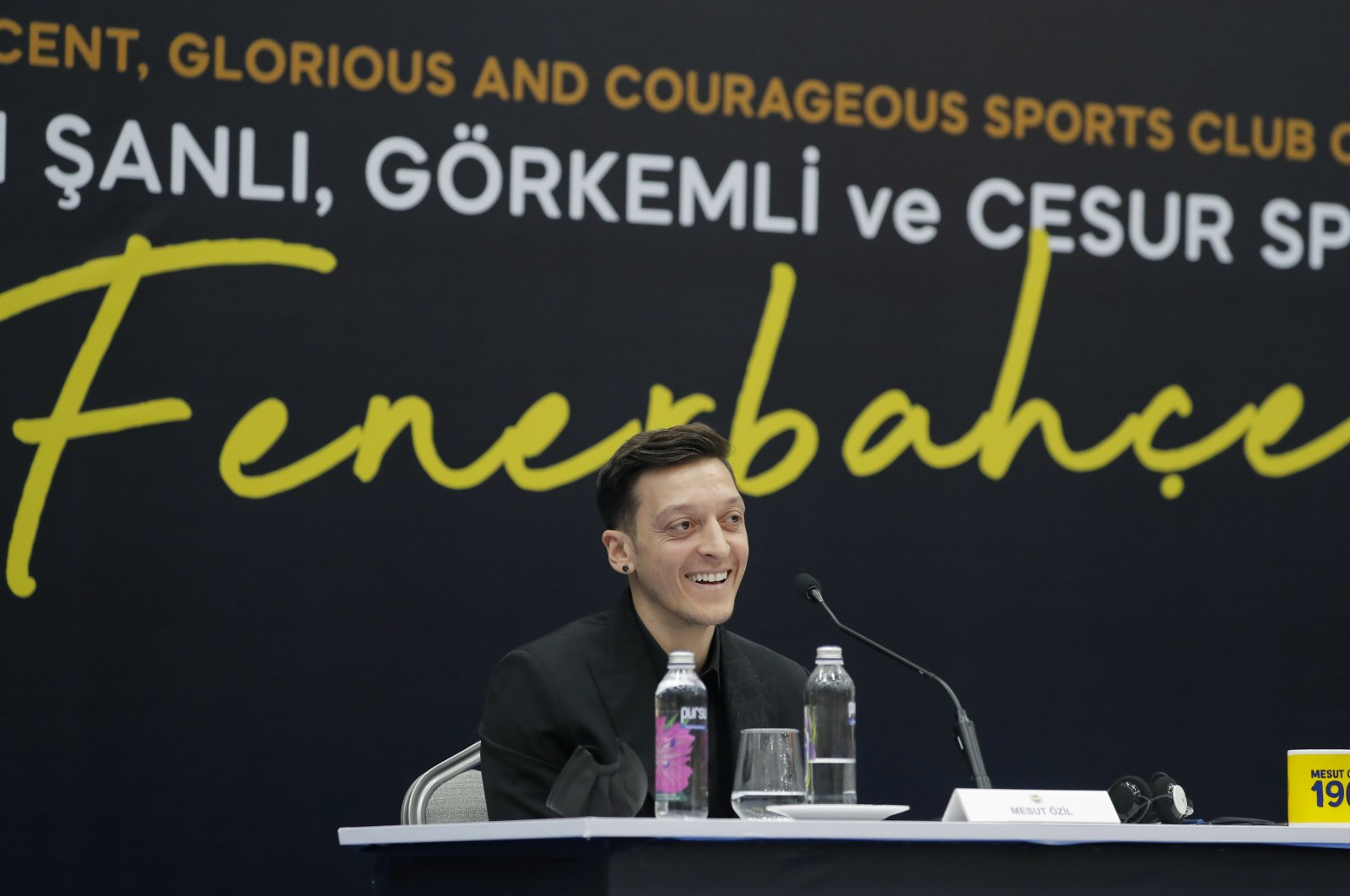 Mesut Özil speaks during a presentation and signing ceremony with Fenerbahçe football club, in Istanbul, Wednesday, Jan. 27, 2021. (AP Photo)