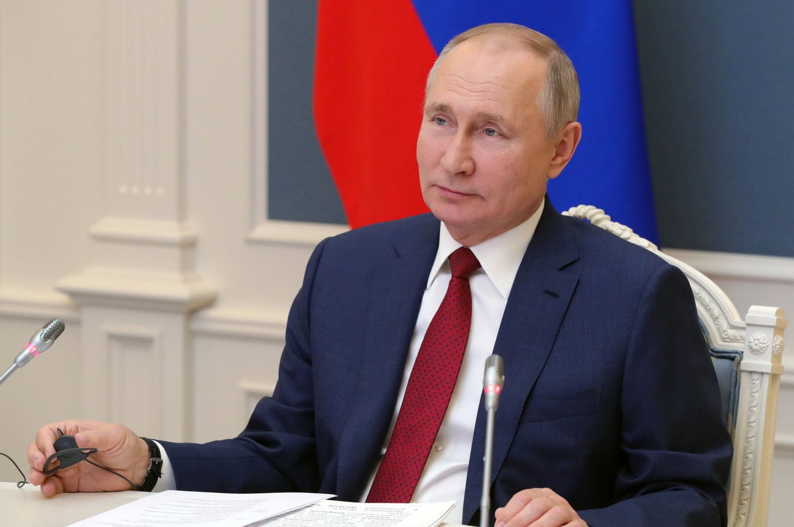 Russian President Vladimir Putin speaks to participants of the World Economic Forum via video in Moscow, Russia, Wednesday, Jan. 27, 2021. (AP Photo)