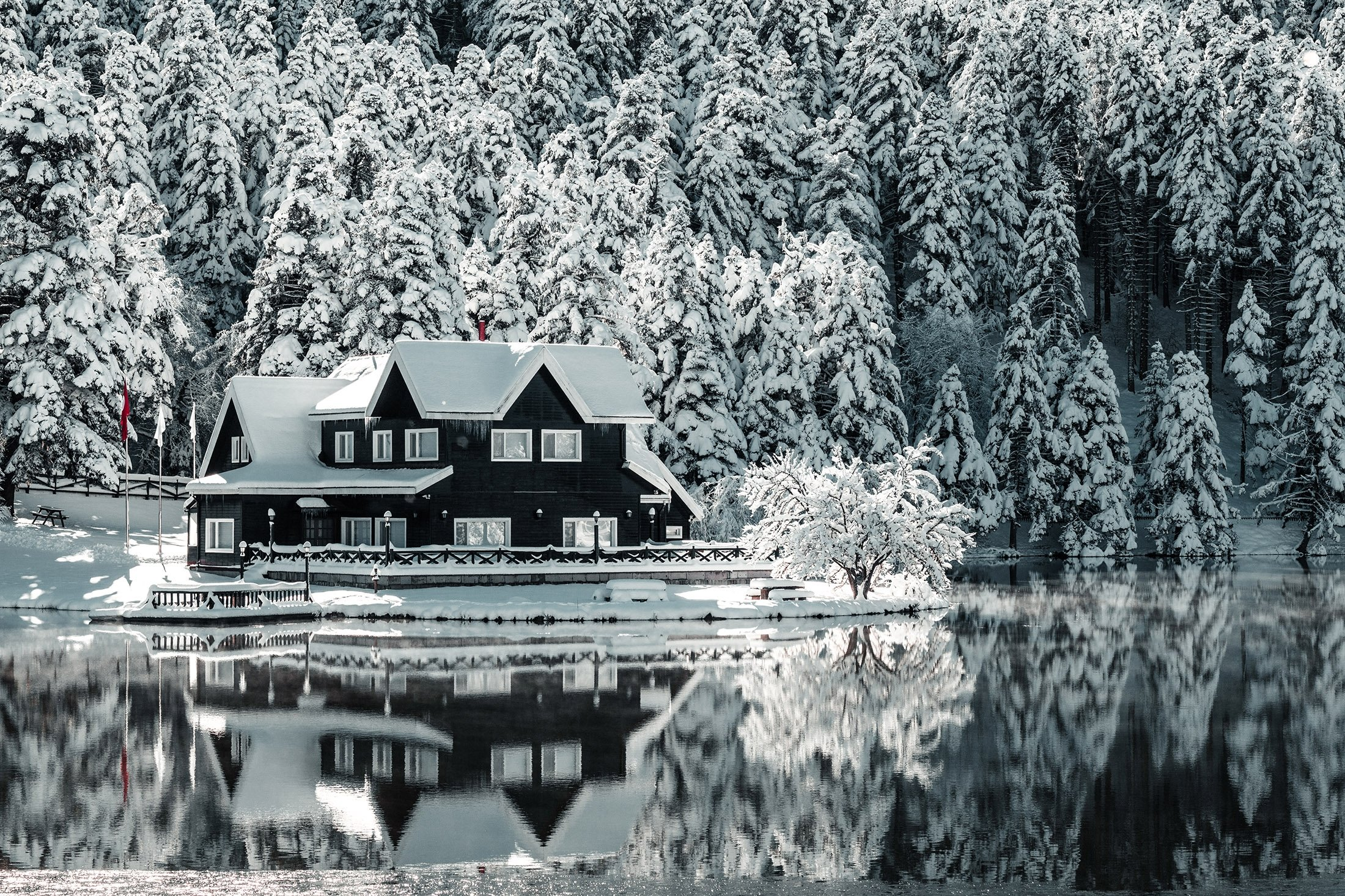 Lake houses at Gölcük (pictured) and Abant Nature Parks are perfect for a wintery family get-together. (Shutterstock Photo)