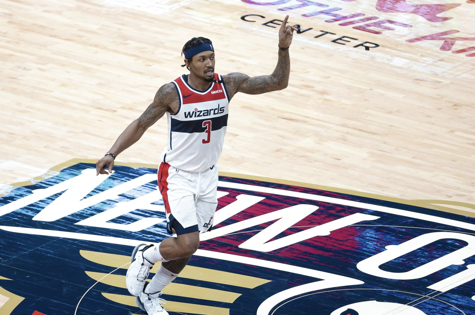 Washington Wizards guard Bradley Beal reacts after a score against the New Orleans Pelicans in the fourth quarter of an NBA basketball game in New Orleans, Louisiana, U.S., Jan. 27, 2021. (AP Photo)