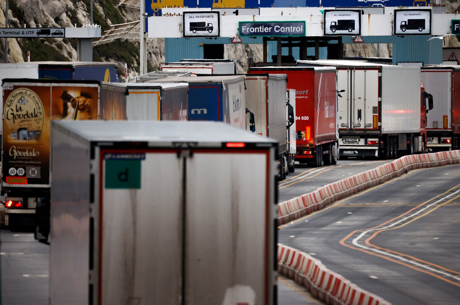Lorries queue in at the border control of the Port of Dover, Britain, Jan. 15, 2021. (Reuters Photo)