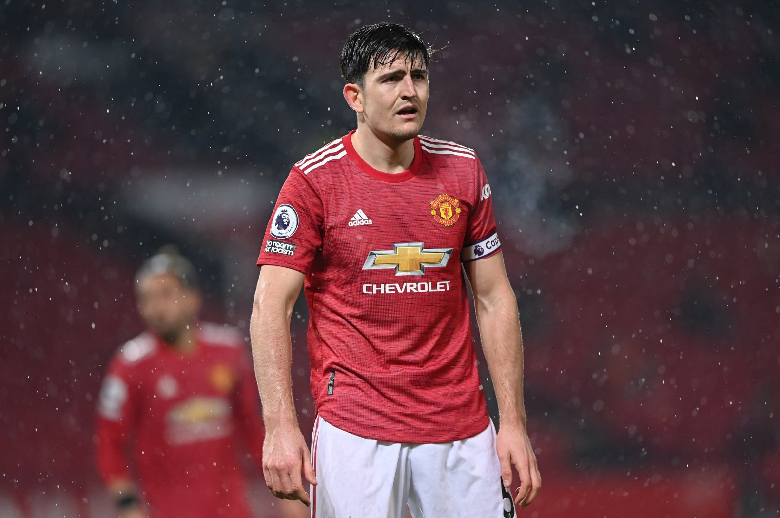 Manchester United's Harry Maguire looks dejected after a loss against Sheffield United, Manchester, England, Jan. 27, 2021.