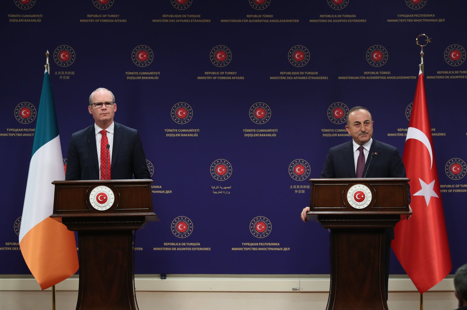 Foreign Minister MevlütÇavuşoğlu speaks at a news conference with his Irish counterpart Simon Coveney in the capital Ankara, Turkey, Jan. 27, 2020. (AA Photo)