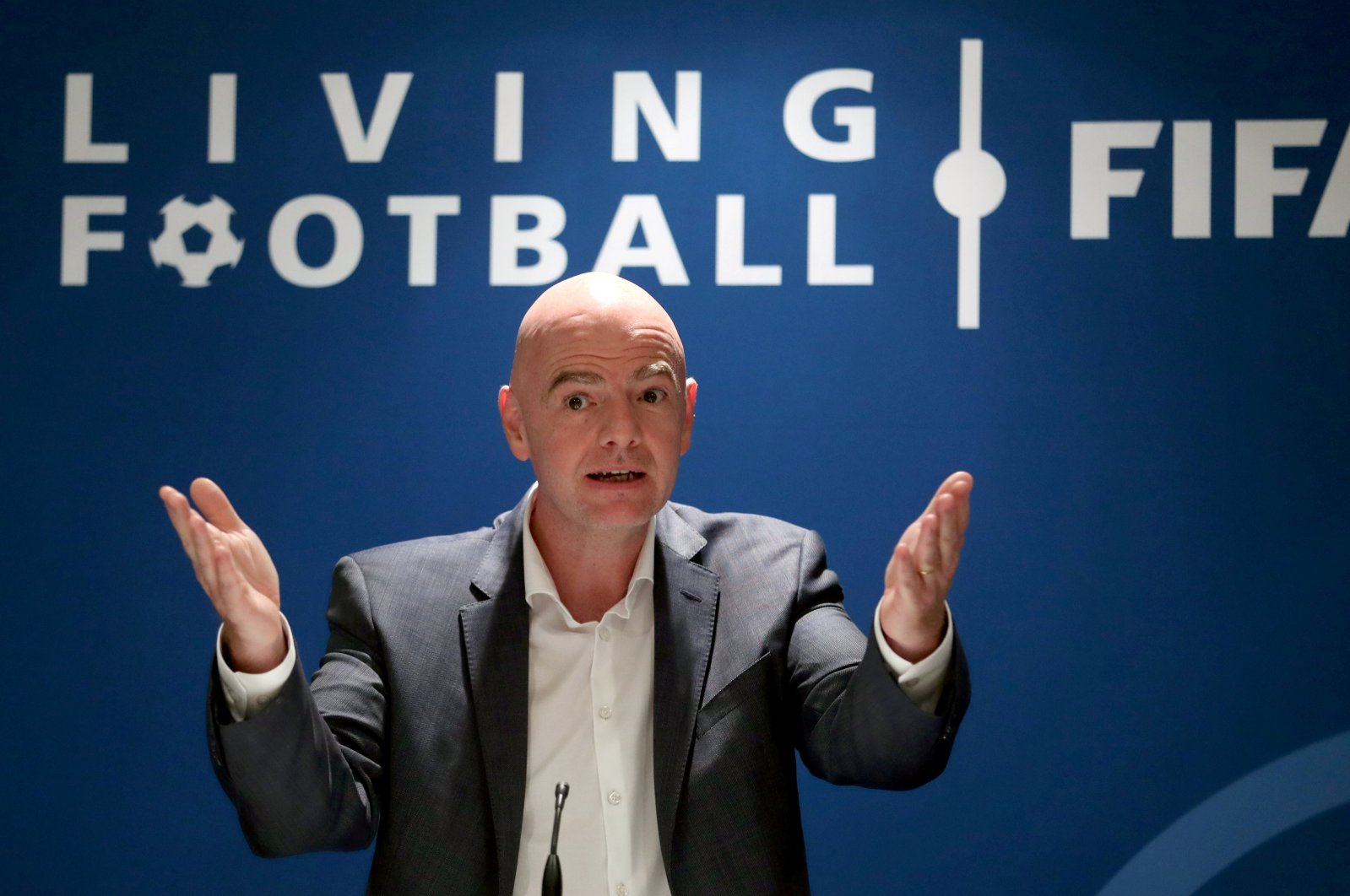 FIFA President Gianni Infantino speaks during a panel discussion at the FIFA headquarters in Zurich, Switzerland, Sept. 30, 2020. (Reuters Photo)