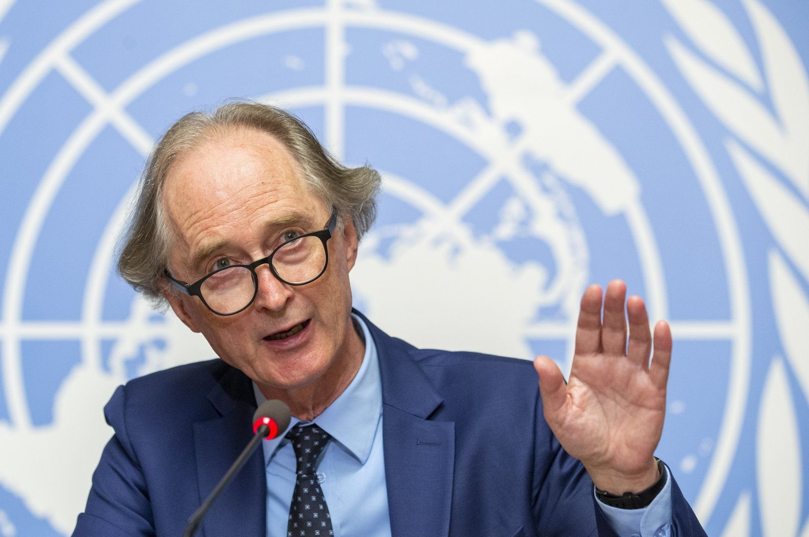 Geir O. Pedersen, U.N. special envoy for Syria, speaks during a press conference at the European headquarters of the United Nations in Geneva, Switzerland, Aug. 21, 2020. (AP Photo)
