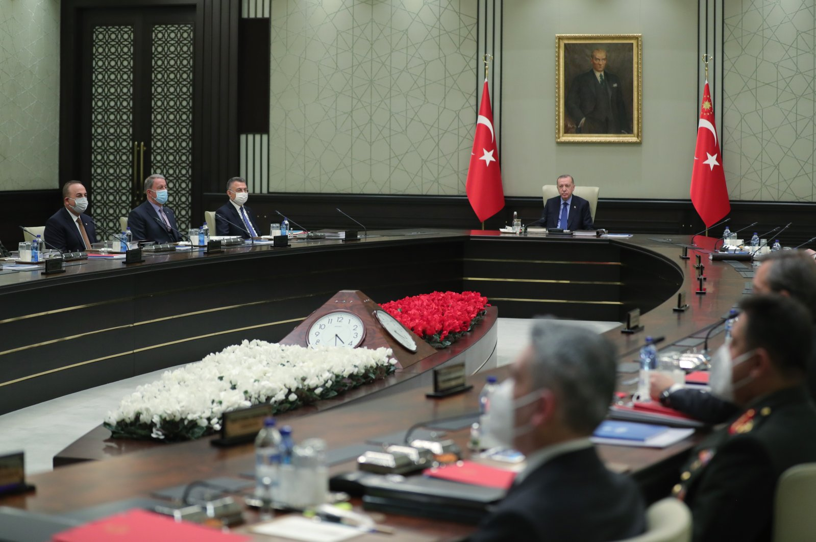 National Security Council (MGK) under the chairmanship of President Recep Tayyip Erdoğan is seen in this photo taken in Ankara's Presidential Complex on Jan. 28, 2021 (AA Photo)